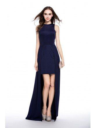 Navy Blue A-line Scoop Neck High Low Evening Dress
