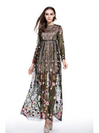 A-line Scoop Neck Embroidery Floor-length Formal Dress With Long Sleeves