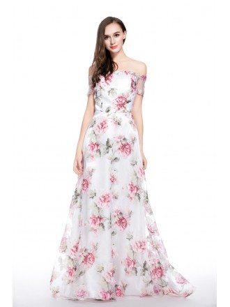 A-line Off-the-shoulder Floral Print Floor-length Formal Dress