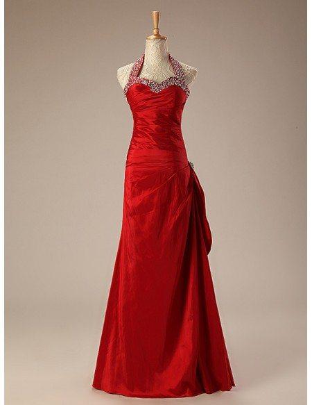 Long Halter Beaded Neckline Taffeta Prom Dress