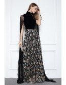 Black A-line High Neck Floor-length Evening Dress With Sequins