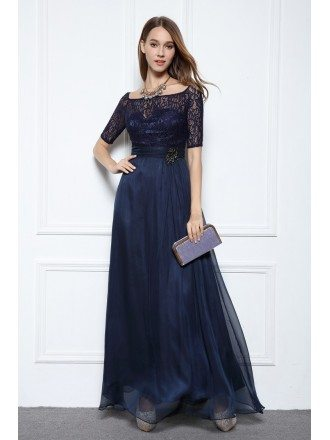 Blue A-line Off-the-shoulder Floor-length Formal Dress With Lace