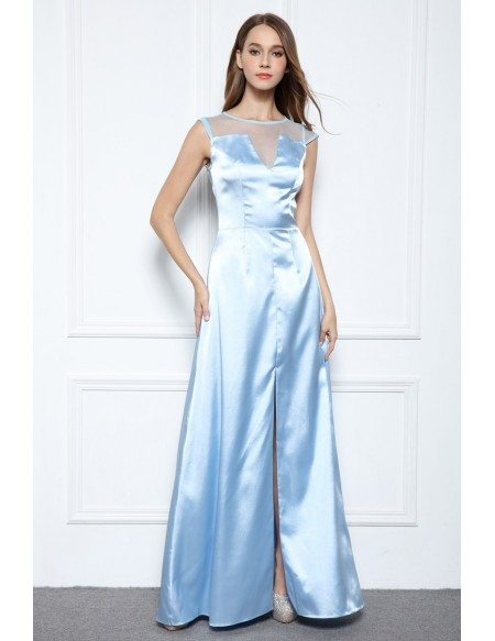 White A-line Scoop Neck Floor-length Formal Dress With Front Split