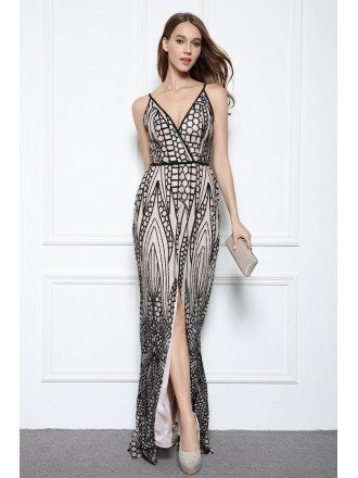 Black Sheath V-neck Floor-length Formal Dress With Sequins