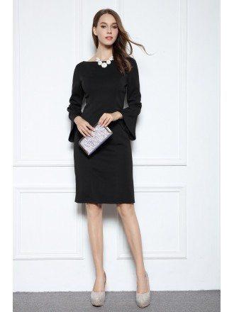 Black Sheath Scoop Neck Knee-length Formal Dress With Sleeves