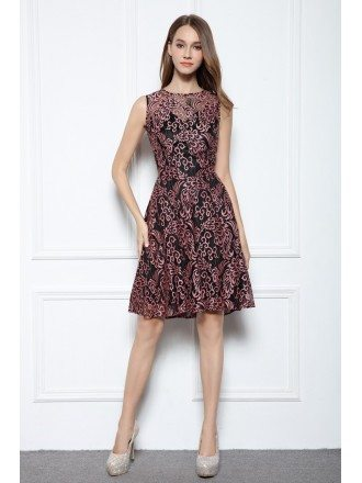 A-line Scoop Neck Knee-length Lace Sleeveless Formal Dress
