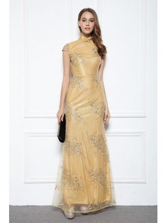 Gold A-line High Neck Embroidery Floor-length Evening Dress