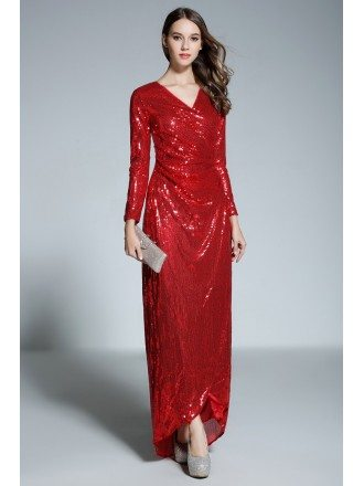Red A-line V-neck Floor-length Sequined Evening Dress With Sleeves
