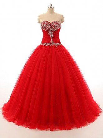 Ball-Gown Sweetheart Sweep Train Tulle Prom Dress With Ruffles Beading