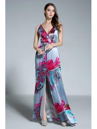 A-line V-neck Floral Print Floor-length Evening Dress With Split