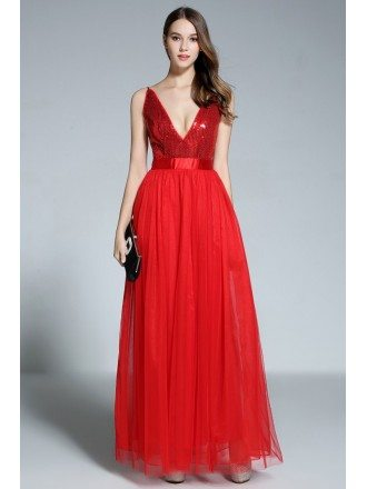 A-line V-neck Tulle Floor-length Red Evening Dress With Sequins