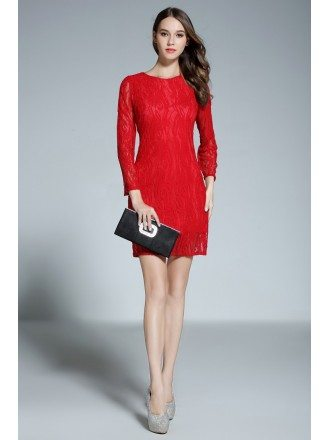 Sheath Scoop Neck Lace Short Red Formal Dress With Sleeves