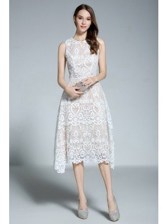 A-line Scoop Neck White Lace Sleeveless Knee-length Formal Dress