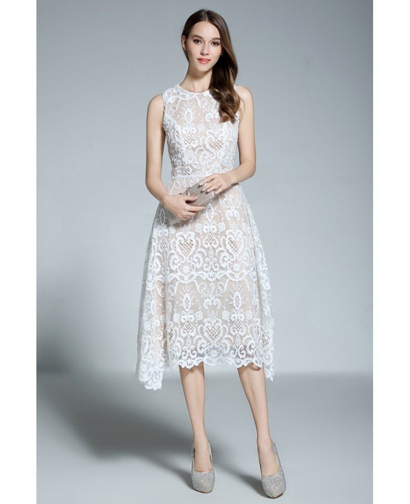 A-line Scoop Neck White Lace Sleeveless Knee-