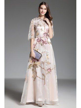 A-line High Neck Embroidery Organza Floor-length Evening Dress