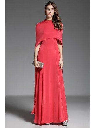 A-line V-neck Floor-length Red Evening Dress With Cape