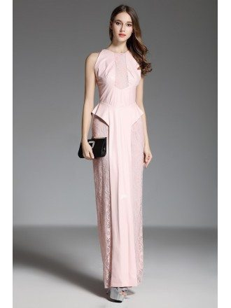 Sheath High Neck Pink Lace Floor-length Evening Dress