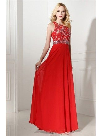 Sheath Scoop Floor-length Prom Dress