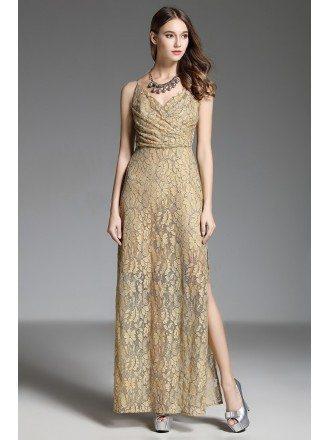A-line V-neck Lace Floor-length Gold Evening Dress With Split