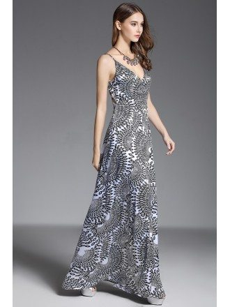A-line V-neck Printed Floor-length Evening Dress