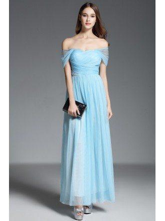 A-line Off-the-shoulder Floor-length Blue Formal Dress