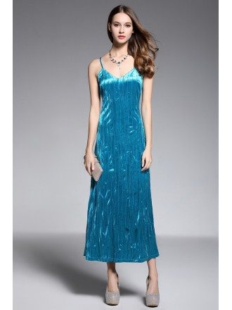 A-line V-neck Ankle-length Evening Dress With Sequins
