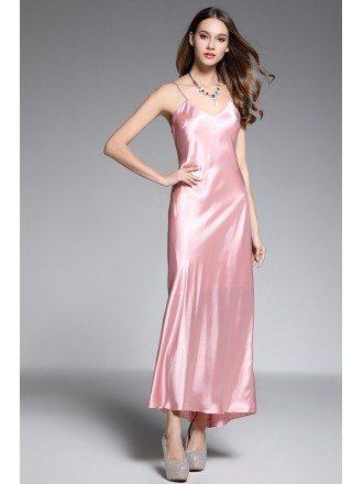A-line V-neck Ankle-length Silk Pink Evening Dress