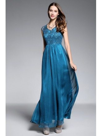 A-line V-neck Floor-length Evening Dress With Lace