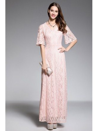 A-line V-neck Floor-length Lace Pink Evening Dress With Sleeves