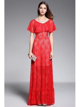 A-line Scoop Neck Floor-length Red Lace Evening Dress
