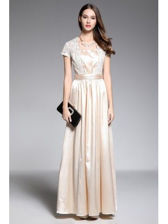 A-line V-neck Floor-length Champagne Evening Dress With Lace