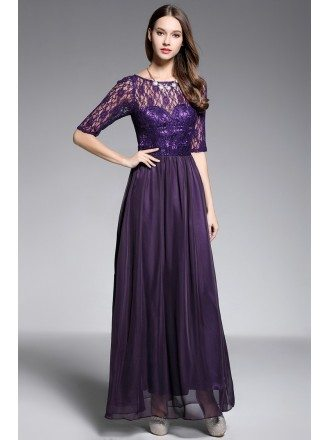 A-line Scoop Neck Floor-length Purple Evening Dress With Lace
