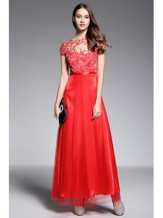 A-line Scoop Neck Floor-length Red Evening Dress With Embroidery