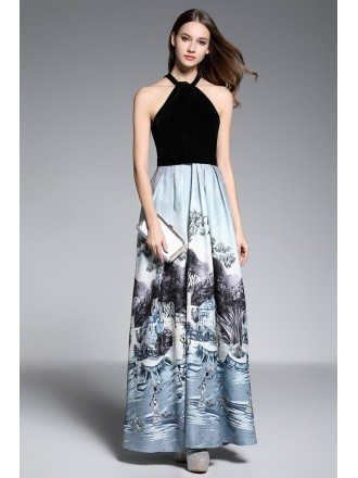 A-line Halter Floor-length Printed Evening Dress