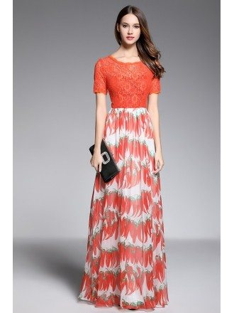 A-line Scoop Neck Floor-length Red Printed Evening Dress With Lace