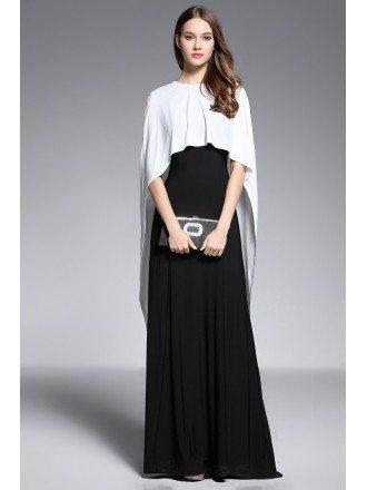 A-line V-neck Floor-length Black and White Evening Dress With Cape