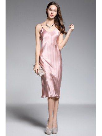 Sheath V-neck Tea-length Rose Pink Silk Evening Dress