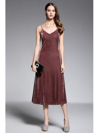 Sheath V-neck Tea-length Velvet Evening Dress