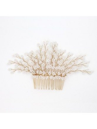 Handmade Pearls Hair Comb Bridal Headpiece