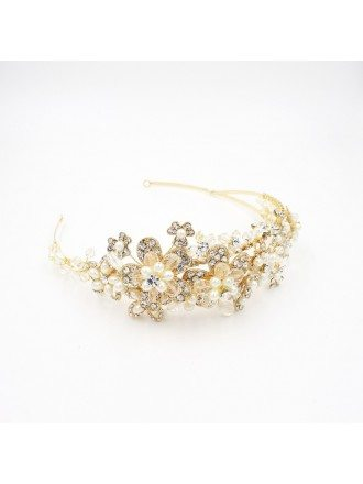 Luxury Pure Handmade Golden Pearls and Rhinestone Wedding Headband