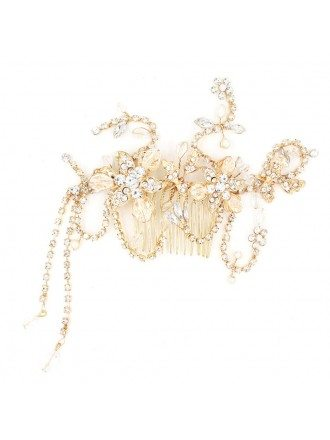 Romantic Crystal Flowers Golden Wedding Hair Comb Headpiece