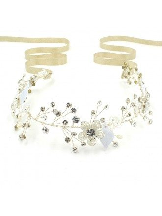 Charming Flower Leaf and Twigs Beaded Golden Ribbon Wedding Headband Pure Handmade Headpiece
