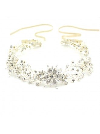 Romantic Gold or Silver Color Wedding Headband with A Ribbon