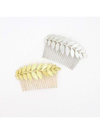 Vintage Gold or Silver Color Leaf Hair Comb for Brides