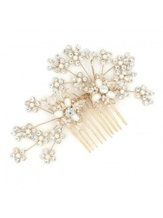 Gold Color Wedding Hair Comb Updos Accessory