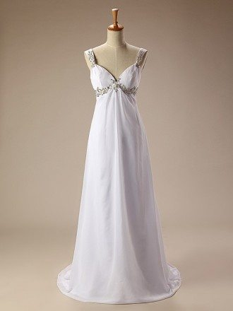 Simple Beaded Straps Long Chiffon Wedding Dress