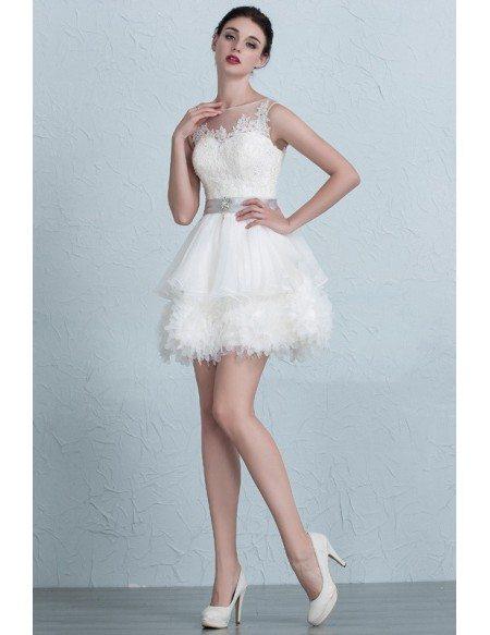Puffy Mini Short Ivory High Neckline Wedding Dress with Sash
