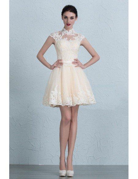 Unique High Neck Lace Cap Sleeve Mini Tulle Wedding Dress
