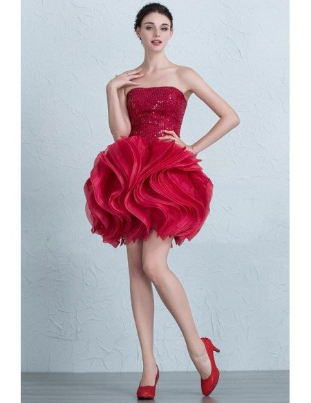 Hot Pink Sparkly Sequined Strapless Ruffled Short Party Dress