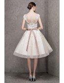 Ivory High Neck Lace Cap Sleeve Knee Length Wedding Dress with Sash